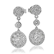2CT Certified G/VS2 Round Brilliant Cut Rubover and Cluster Diamond Drop Earrings in 18K White Gold