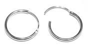 15 mm Diameter Hinged Medium Weight Hoops - Genuine 925 Sterling Silver