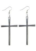 Silver Cross Earrings Large Dangle