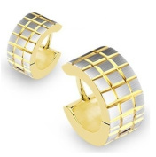 Pair of Gold and Silver Small Huggie Hoop Earrings with Brushed Faceted Square Grids (Diameter