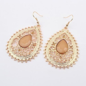 Retro Hollow Water Drop Earrings Beige