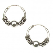 sterling silver small indo style hoop earrings