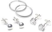 Silver Ball/Cubic Zirconia/Hoop 3 Earrings Set
