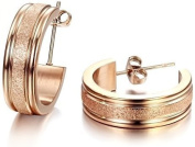 OPK South Korea Style New Fashion Rose Gold Plated Frosted Lady's Titanium Stainless Steel Earrings New Best Gift!