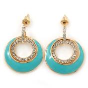 Aqua Enamel, Crystal Double Hoop Earrings In Gold Plating - 30mm Length