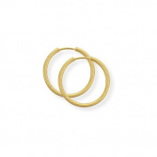 Jewelco London 9ct Yellow Gold - 14mm Thin Diamond-cut Sleeper Earrings -