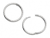Silver Hinged Square Edge Hoop Earrings - 13mm