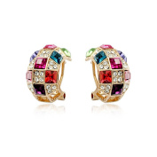 Fashion Plaza 18K Gold Hoop Earings with Coloful Gemstones Green, Ruby, Purple, Rose Red and Clear. Crystal E361