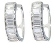 Elegant 925 Sterling Silver Ladies Hoop Earrings with Cubic Zirconia/CZ - 14mm*4mm