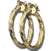 Simply Glamorous Jewellery And Gifts Shop - 9ct Gold Filled Twisted Tube Hoops Earrings