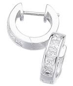 Elements Sterling Silver Ladies' E266C Channel Set Square Cubic Zirconia Hoop Earrings