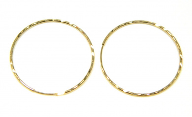 9ct Gold 22mm Diamond Cut Sleeper Hoops (1 Pair)