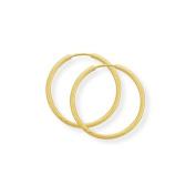 Jewelco London 9ct Yellow Gold - 17mm Thin Diamond-cut Sleeper Earrings -