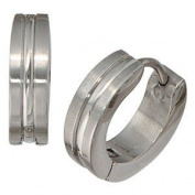 Jewellery Unisex Pair of Creoles inox, partially frosted, hinged closure, Diameter about 13 mm