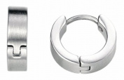 Fred Bennett Mens E2938 Brushed Steel Huggie Earrings