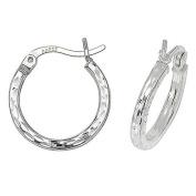 Sterling Silver 16MM Diamond Cut Square Tube Hoop Earrings