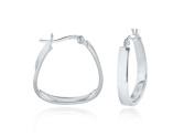 Silver Square Handbag Shape Hoop Earrings