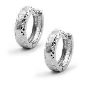 Earring hoop diamond cut silver 925