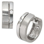 Jewellery - Women - Creole pair - 925 Silver, rhodium plated, partially frosted, Zirconia, Folding mechanism