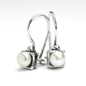 Square little pearl hoop earrings