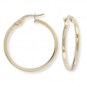 9ct Gold Round Hoop Earrings with Square Tube - 24mm
