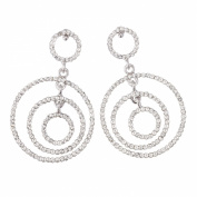 Gemini London Jewellery's Triple Circle Earrings - Made with Clear White. Crystals, 57mm Length, Rhodium Plated Silver Finish.
