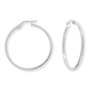 9ct White Gold Round Hoop Earrings with Square Tube - 30mm