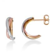 Miore 9ct Tri Colour Gold Small Hoop Earrings MA941E