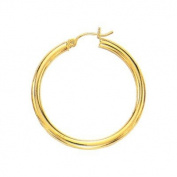 14kt Yellow Gold 2X30mm Shiny Round Tube Hoop Fancy Earring. 14K Yellow-Gold