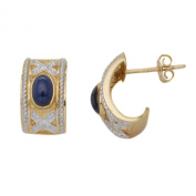9ct Two Colour Gold 0.07ct Diamond and Sapphire Half Hoop Earrings