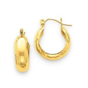 Black Bow Jewellery Company : 7mm, 14K Yellow Gold Half Round Hoop Earrings, 18mm