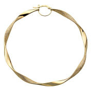9ct Yellow Gold 76mm Flat Twist Hoop Earrings - Large