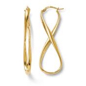 3mm 14ct Polished Infinity Hinged Hoop Earrings - JewelryWeb