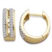Miore 9ct Yellow Gold Diamond Set Hoop Earrings SA916E