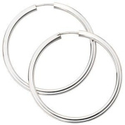 Jewellery Women Pair of Creole, 585 white gold,Diameter of about 37.6 mm about 3.2 g