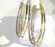 Sparkly Beautiful. Elements Double Hoop Earrings 38mm Finished in 18kt Gold Electroplate. Outstanding Quality Designer Jewellery.