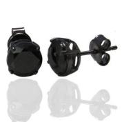 K Mega Jewellery Pair of 6mm Stainless Steel Black Crystal CZ Stone Round Studs Mens Earrings