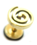 Spiral Gold Surgical Stainless Steel Stud Earring Body Jewellery Fake Stretcher Mens Gothic Top Tragus