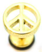 Peace Sign Gold Surgical Stainless Steel Stud Earring Body Jewellery Fake Stretcher Mens Gothic Top Tragus