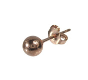 Mens Polished finish Rose Gold Stainless Steel 5mm Ball Stud Earring