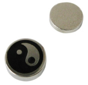 Mens Magnetic 8mm 316l Surgical Stainless Steel stud earring Yin Yang