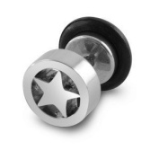 Urban Male Stainless Steel Fake Ear Expander Star Design
