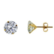 9ct Yellow Gold Plated on 0.925 Sterling Silver Round CZ Stud 7mm Single Earring