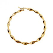 9ct Yellow Gold Plated on 0.925 Sterling Silver Large Twist 36mm Hoop Single Earring