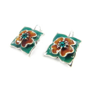 """Earrings / Dormeuses 'french touch' """"Bouquet Fleury"""" turquoise brown."""