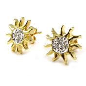 """Earrings plated gold """"Soleil"""" white."""