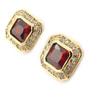 """Gold plated earrings """"Sissi""""garnet."""