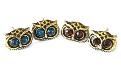 2x Pair of Retro Owl Stud Earrings