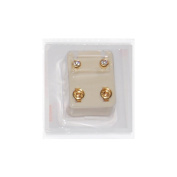Studex Ear Piercing Gold Plated Birthstone Stud Earrings 4mm Bezel Setting - April / Crystal
