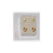 Studex Ear Piercing Gold Plated Birthstone Stud Earrings 4mm Bezel Setting - August / Peridot